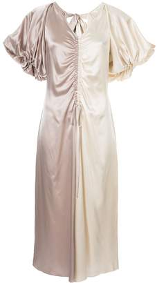 Lee Mathews Adela silk puff sleeve dress