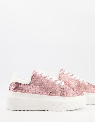 ASOS DESIGN Dorina chunky sole trainers in pink glitter