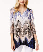 JM Collection Hardware-Embellished Handkerchief-Hem Top, Created for Macy's