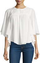 Bishop + Young Half-Sleeve Embroidered Top, White