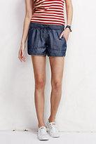"Lands' End Women's Petite Not-Too-Low 4"" Tencel Shorts-Blue Turquoise Butterflies"
