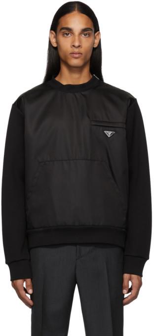 Prada Black Nylon Knit Sweatshirt