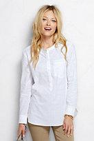 Lands' End Women's Cotton Tunic Top-White Windowpane