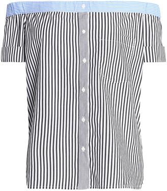 Bailey 44 False Start Off-the-shoulder Striped Cotton-blend Poplin Top
