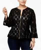 INC International Concepts Plus Size Lace Peplum Jacket, Only at Macy's