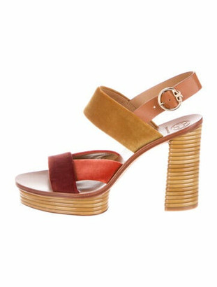 Tory Burch Colorblock Pattern Slingback Sandals Orange