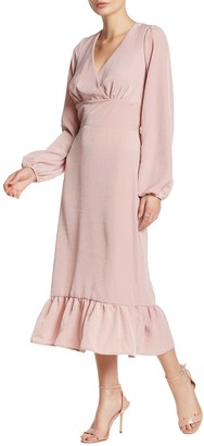 Abound Long Sleeve Ruffle Trim Midi Dress