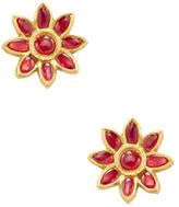 Amrapali 18K Yellow Gold & Ruby Flower Stud Earrings