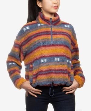 Hippie Rose Juniors' Printed Sherpa Sweatshirt