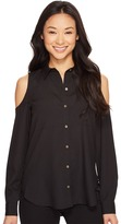 Calvin Klein Long Sleeve Cold Shoulder Button Down Blouse Women's Blouse