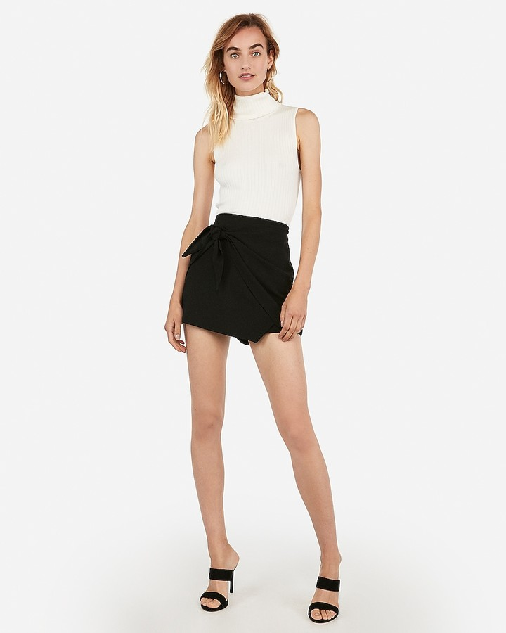 Express High Waisted Tie Front Wrap Skort