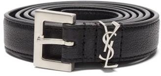 Saint Laurent plaque Leather Belt - Black