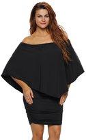 Designer97 Fashion Women's Sexy Strapless Off-the-shoulder Chest Irregular Flouncing Package Hip Dress Plus SizeL/XXXL