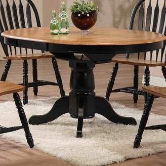 Beachcrest Home Florentia Extendable Solid Wood Dining Table Color: Rustic Oak and Rubbed Black
