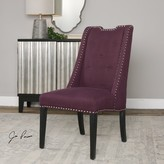 The Well Appointed House Wingback Accent Chair in Eggplant Purple