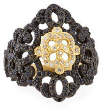 Armenta Old World Filigree Ring with White Diamonds & Black Sapphires