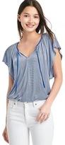 Gap Stripe drapey flutter sleeve top