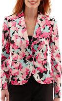 Evan Picone BLACK LABEL BY EVAN-PICONE Black Label by Evan-Picone Long-Sleeve One-Button Floral Print Jacket