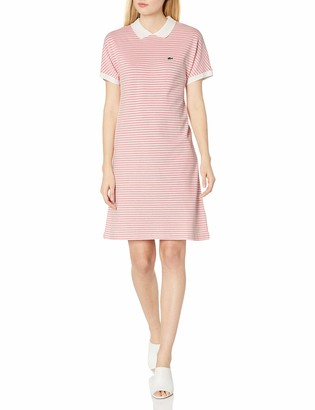 Lacoste Women's Short Sleeve Buttonless Striped Pique Polo Dress