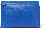 Loewe T Embossed Leather Clutch - Blue