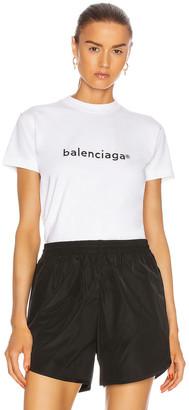 Balenciaga Small Fit T Shirt in White & Black   FWRD