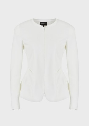 Emporio Armani Ottoman-Effect Jersey Jacket With Side Pleating