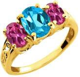 Gem Stone King 2.50 Ct Oval Swiss Blue Topaz and Pink Tourmaline 18k Yellow Gold Ring
