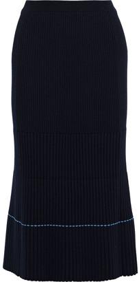 Victoria Beckham Ribbed-knit Midi Pencil Skirt