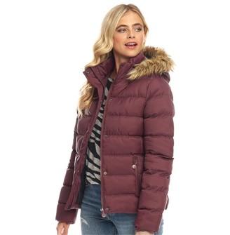 Fluid Womens Hooded Puffer Jacket Berry