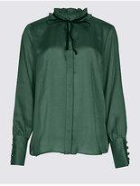 M&S Collection Velvet Trim Round Neck Long Sleeve Blouse