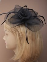 Inca 4001 Black Looped net swirl fascinator on clip & brooch pin Wedding Party Prom