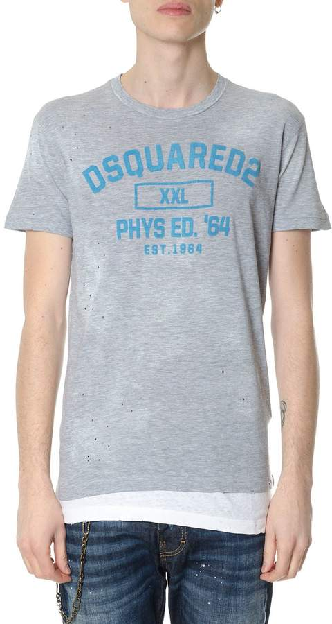 DSQUARED2 Grey Cotton Worned Effect T-shirt