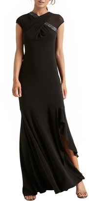 Halston Crossover Embellished Asymmetrical Gown
