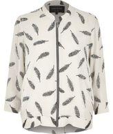 River Island Womens Cream feather print zip bomber jacket