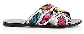 Alice + Olivia Women's Harrieta Snakeskin-Print Leather Slides Sandals