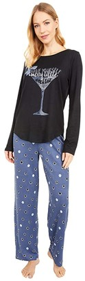 Hue Merry Dot Cozy Knit PJ Set (Black) Women's Pajama Sets