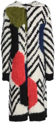 Valentino Mohair-blend Boucle Hooded Coat