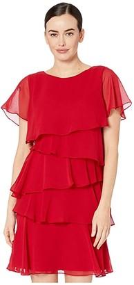 Tahari ASL Tiered Chiffon Flutter Sleeve Dress (Ruby) Women's Dress