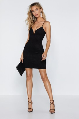Nasty Gal Womens If It Was Down to V Faux Suede Dress - black - 4