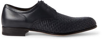 a. testoni A.Testoni Navy Basketweave Leather Derby Shoes
