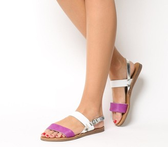 Office Honey Sling Back Sandals Purple Pony With White Silver Mix