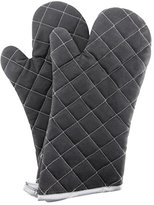 Oven Mitts 1 Pair of Quilted Cotton Lining - Heat Resistant Kitchen Gloves,Flame Black Oven Mitt Set