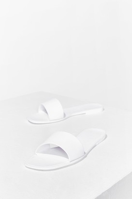 Nasty Gal Womens Slide By Slide Faux Leather Flat Sandals - White - 6