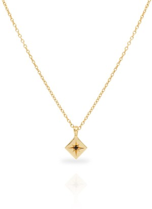 North Star Necklace With Black Diamond 14K Yellow Gold