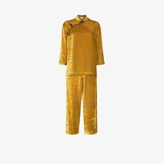 Olivia von Halle Harlow Leaf velvet pyjamas