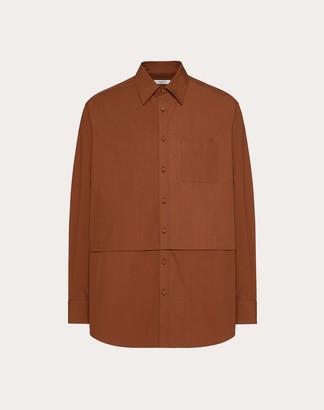 Valentino Semi-oversize Shirt Man Brown 100% Cotone 37