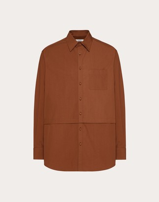 Valentino Semi-oversize Shirt Man Brown 100% Cotone 38