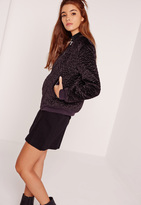 Missguided Faux Wool Bomber Jacket Purple