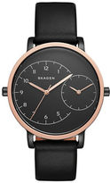 Skagen Rose Goldtone Dual-Time Leather-Strap Watch
