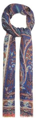 Etro Paisley-print Cashmere-blend Herringbone Shawl - Blue Multi